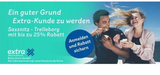 Stena Line bietet im Bonusprogramm Extra 25% Rabatt auf die Fähre Sasssnitz-Trelleborg